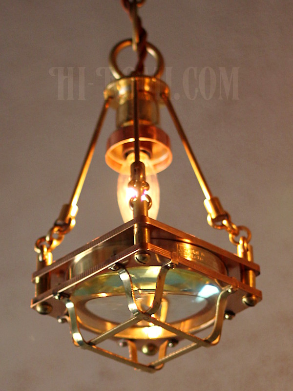 画像1: 【数量限定】ケージ&レンズ付真鍮製工業系ペンダントライト/Hi-Romi.comオリジナル照明/インダストリアル吊下げライト/スチームパンク (1)