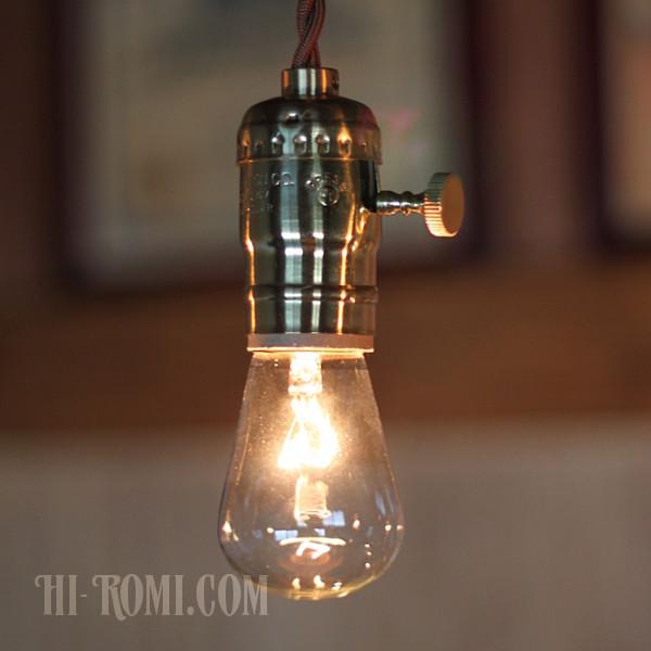 画像1: LEVITON社製ターン式真鍮製ソケットペンダントライトC/工業系ランプ照明 (1)