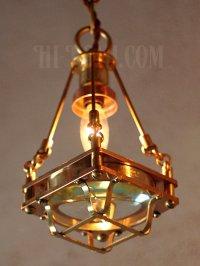 画像1: 【数量限定照明】ケージ&レンズ付真鍮製工業系ペンダントライト