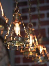 画像2: 【数量限定照明】ケージ&レンズ付真鍮製工業系ペンダントライト