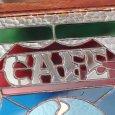 ステンドグラスCAFEカフェサイン屋内看板照明|vintage stained glass cafe sign