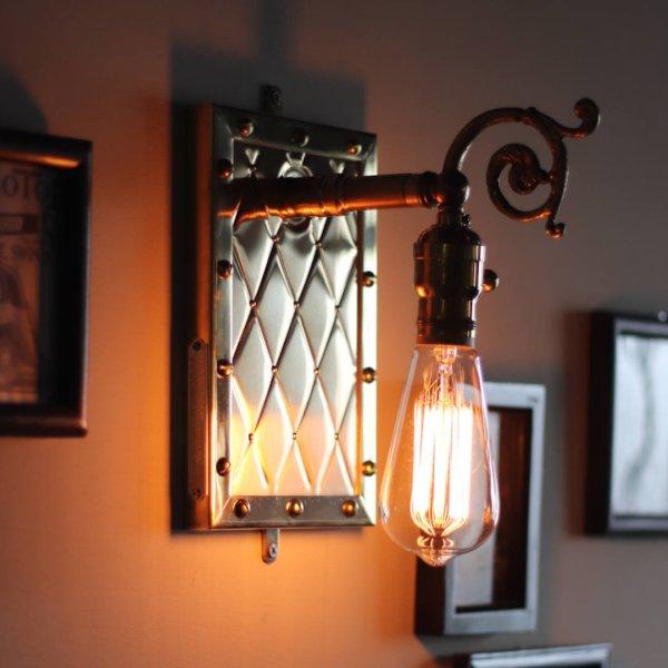 アートデザインランプ・ブラケットライト壁掛け照明|アンティーク&スチームパンクアーガイル柄メタルワーク