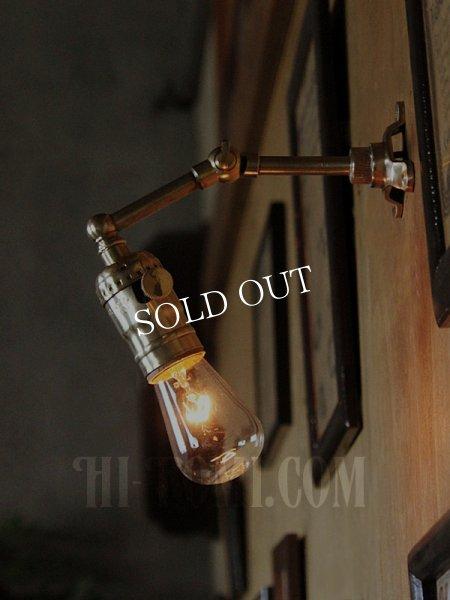画像1: LEVITON社製真鍮ソケット&角度調整付きミニブラケット/インダストリアル工業系ウォールランプ壁面照明 (1)