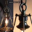 画像10: ケージ&レンズ付真鍮製工業系ペンダントライト アンティーク吊下げ照明 (10)