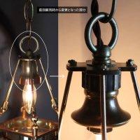 画像2: ケージ&レンズ付真鍮製工業系ペンダントライト アンティーク吊下げ照明