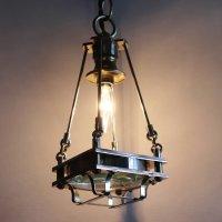 画像1: ケージ&レンズ付真鍮製工業系ペンダントライト アンティーク吊下げ照明
