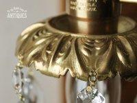 画像1: 真鍮製フレームダブルカットティアドロッププリズム1灯ミニシャンデリア/アンティーク照明ペンダントランプ