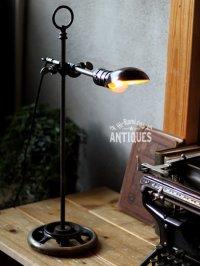 画像1: 工業系卓上照明|ミニシェード付ミシンハンドルテーブルライト