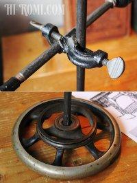 画像3: 工業系卓上照明|ミニシェード付ミシンハンドルテーブルライト