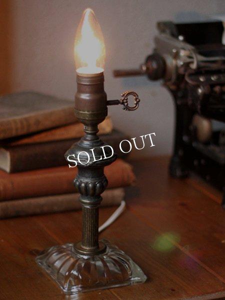 画像1: ヴィンテージ鍵付きMETEORファットボーイソケットガラスベースのテーブルランプ/アンティーク照明ライト (1)