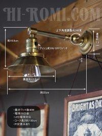 画像1: ヴィンテージ工業系角度調整&シェード付きプッシュ式真鍮ソケットライトA/アンティーク照明