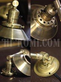 画像2: ヴィンテージ工業系角度調整&シェード付きプッシュ式真鍮ソケットライトA/アンティーク照明