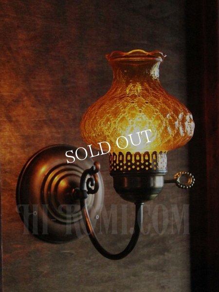 画像1: ヴィンテージアーガイルアンバーガラスシェード鍵付きブラケットランプA/アンティークホブネイルコロニアル照明 (1)