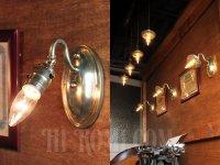画像3: USAヴィンテージ真鍮製花型フレーム付きプッシュ式ブラケットランプB/アンティークヴィクトリアンアトリエ壁掛けウォールライト