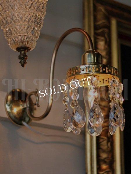画像1: ヴィンテージ鍵付き真鍮シェード1灯プリズムブラケット/アンティークウォールランプ照明 (1)