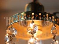 画像1: ヴィンテージ鍵付き真鍮シェード1灯プリズムブラケット/アンティークウォールランプ照明