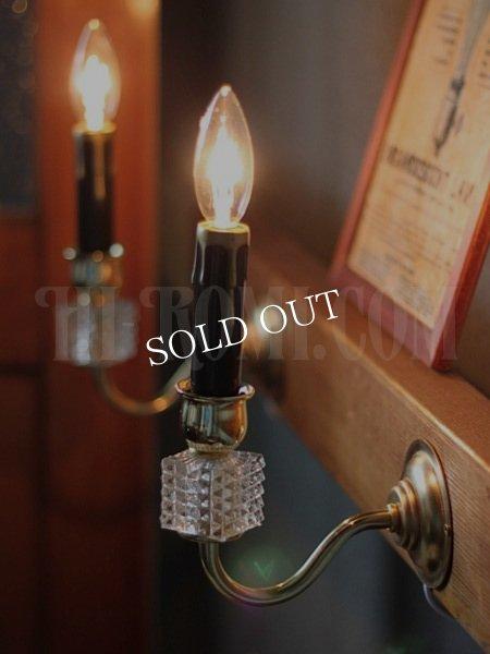 画像1: ヴィンテージガラス飾りミニウォールブラケットランプB/アンティークシャンデリア照明 (1)