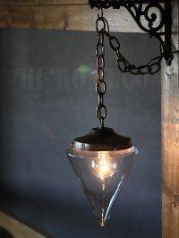 画像1: 工業系ペンダントライト照明|三角ガラスシェードスワッグランプ