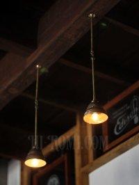 画像3: 工業系照明|1920年代ミニ真鍮シェード&ポール付吊下ライト