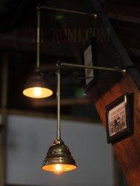 画像1: 工業系照明|1920年代ミニ真鍮シェード&ポール付吊下ライト