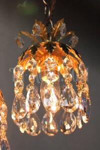 画像2: ヴィンテージ真鍮製フラワー飾りのプリズム1灯ペンダントランプB/アンティークシャンデリア照明