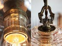 画像1: ヴィンテージガラスシェード1灯プリズムミニシャンデリア/アンティークペンダントランプ照明
