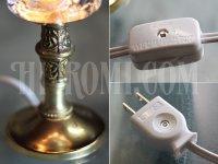 画像2: ガラスシェード付ゴブレット型ミニテーブルランプ/アンティーク卓上照明