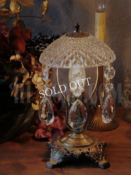 アンティークテーブルランプ|カットガラス&プリズムガラスのヴィクトリアンライト卓上照明