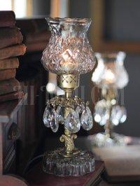 画像3: ヴィンテージプリズム付きアーガイルガラスシェードテーブルランプA/アンティークホブネイル卓上シャンデリア照明