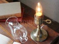 画像3: ヴィンテージホブネイル真鍮製鍵スイッチ付きガラス製フリルチムニーのテーブルランプ/アンティークハリケーンライト真鍮照明