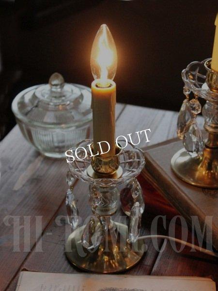 画像1: ヴィンテージプレスガラスシェードプリズム付1灯キャンドルミニテーブルランプA/アンティークシャンデリア照明 (1)