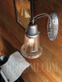 画像2: ヴィンテージガラスシェード付ピューター製花柄ベースのブラケットランプA/アンティークヴィクトリアンレトロ照明壁掛けウォールライト