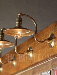 画像3: ヴィンテージ工業系平シェード角度調整付き真鍮ブラケットA/アンティーク照明インダストリアルウォールランプ