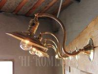 画像2: ヴィンテージ工業系平シェード角度調整付き真鍮ブラケットA/アンティーク照明インダストリアルウォールランプ