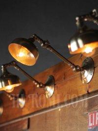 画像1: ヴィンテージ工業系2点角度調整付きキーレス真鍮ブラケットA/アンティーク照明インダストリアルウォールランプ