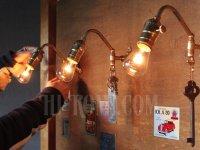 画像2: ヴィンテージ工業系フック付きターン式ソケット真鍮ブラケット/アンティーク照明インダストリアルウォールランプ