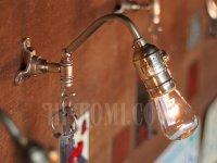 画像1: ヴィンテージ工業系フック付きターン式ソケット真鍮ブラケット/アンティーク照明インダストリアルウォールランプ