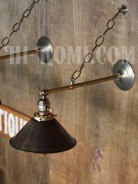 画像1: 工業系ヴィンテージシェード&チェーン付真鍮製ブラケット/アンティークインダストリアル鎖付壁掛照明ライトランプ