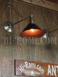 画像2: 工業系ヴィンテージシェード&チェーン付真鍮製ブラケット/アンティークインダストリアル鎖付壁掛照明ライトランプ