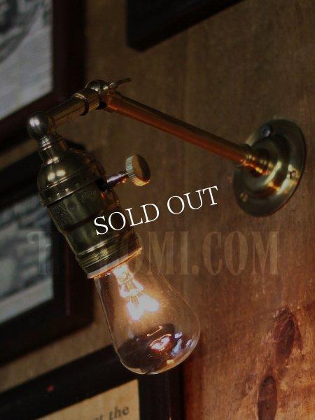 画像1: 工業系ミニ角度調整付き真鍮ブラケット/インダストリアルウォールランプ/壁掛け照明 (1)