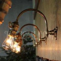 画像2: 工業系ホブネイル鍵付き湾曲アーム真鍮ブラケットA/インダストリアルウォールランプ/壁掛け照明