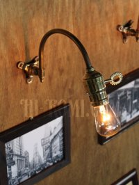 画像3: 工業系ホブネイル鍵付き湾曲アーム真鍮ブラケットA/インダストリアルウォールランプ/壁掛け照明