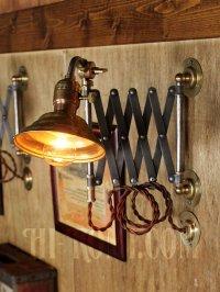 画像1: 工業系蛇腹照明ビーハイブシェードシザーアームブラケットライトインダストリアル