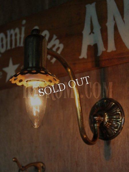 画像1: USAヴィンテージ真鍮製花形カップ付きコロニアルブラケットA/アンティークヴィクトリアン照明壁掛ランプ (1)