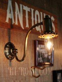 画像1: USAヴィンテージ真鍮製花形カップ付きコロニアルブラケットA/アンティークヴィクトリアン照明壁掛ランプ