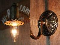 画像3: USAヴィンテージ真鍮製花形カップ付きコロニアルブラケットA/アンティークヴィクトリアン照明壁掛ランプ