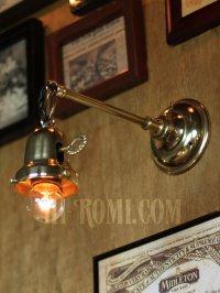 画像2: 工業系鍵&チェーン付ベル型シェードホルダー真鍮ブラケットA/ヴィクトリアンウォールランプ/壁掛け照明/インダストリアル