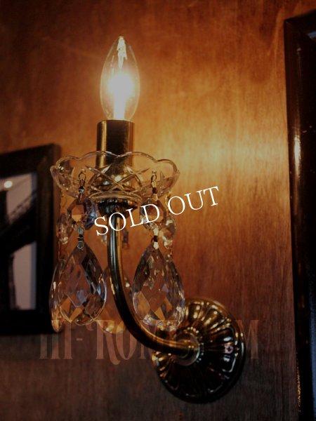 画像1: USAヴィンテージガラス製ダブルカットプリズム付ミニシャンデリアウォールランプA/アンティークブラケットヴィクトリアンライト (1)