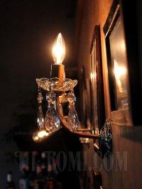 画像2: USAヴィンテージガラス製ダブルカットプリズム付ミニシャンデリアウォールランプA/アンティークブラケットヴィクトリアンライト