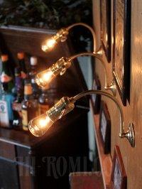 画像3: USAヴィンテージ鍵スイッチ付き真鍮製カーブアーム工業系ブラケットA/アンティークウォールランプインダストリアル照明壁掛ランプ